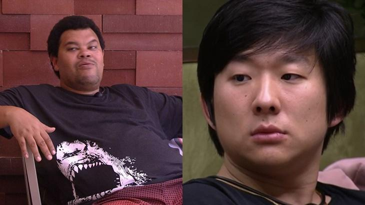Babu Santana e Pyong Lee durante o reality show BBB20