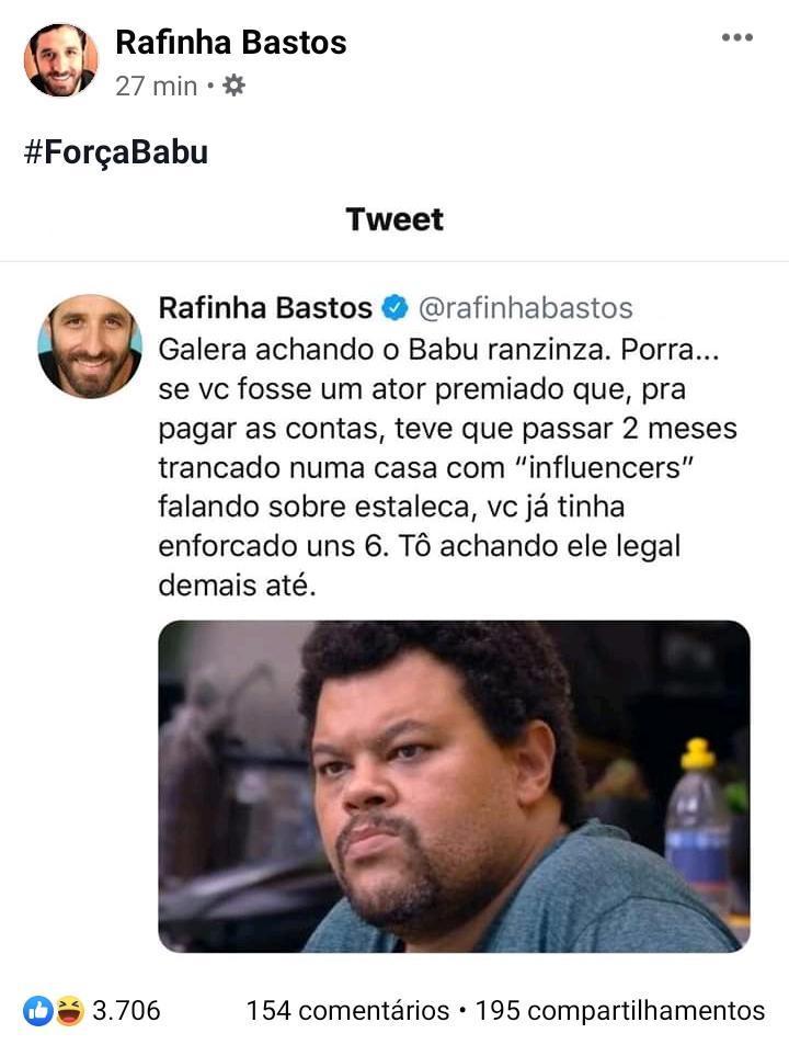 """BBB20: Rafinha Bastos defende postura de Babu e se põe no lugar: \""""Já tinha enforcado uns 6\"""""""