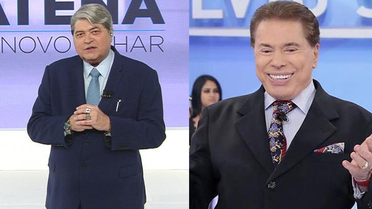 Datena no palco do seu programa na Band, à esquerda, e Silvio Santos sorrindo no auditório do SBT