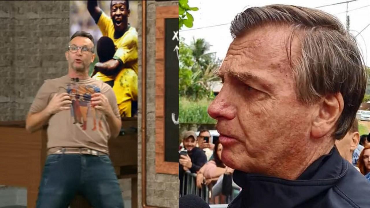 Neto apresentando Os Donos da Bola e Bolsonaro em entrevista cercado de gente