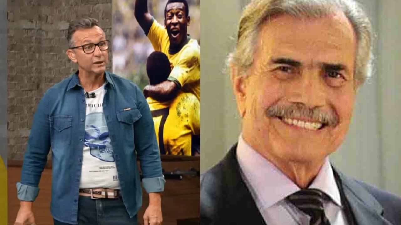 Neto (à esquerda) e Tarcísio Meira (à direita) em foto montagem