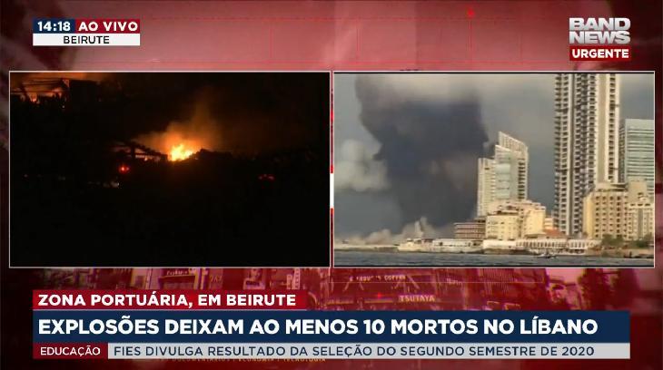 GloboNews e BandNews se destacam na cobertura ao vivo de explosão em Beirute