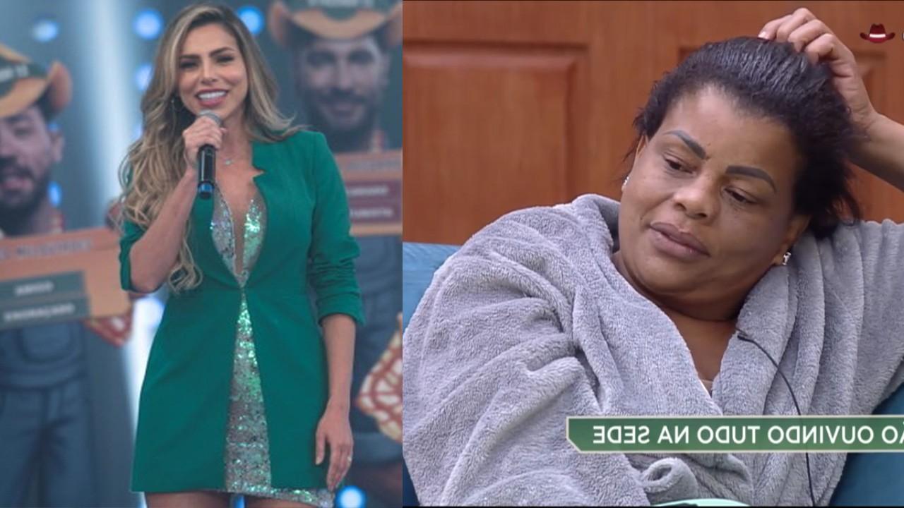 Erika no palco do Hora do Faro; Tati Quebra Barraco em A Fazenda