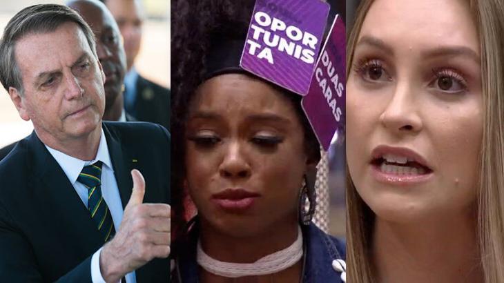 Jair Bolsonaro, Lumena e Carla Diaz em diferentes momentos