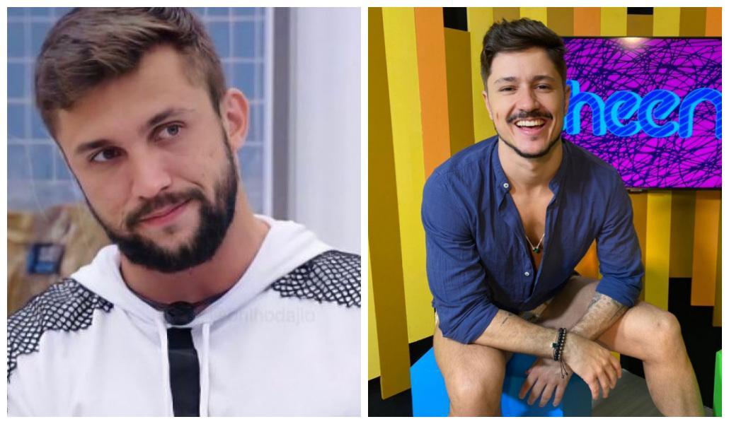Foto 1: Arthur está na cozinha do BBB21; foto 2: Rafa Vieira está sentado no estúdio do canal Pheeno