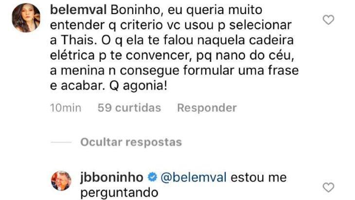 """Boninho questiona escolha de Thais para BBB21: \""""Estou me perguntando\"""""""