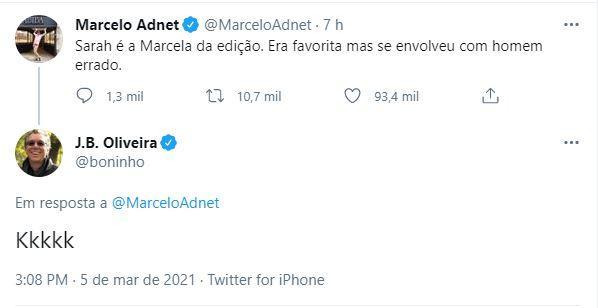 BBB21: Boninho comenta post de Marcelo Adnet sobre Sarah e agita web