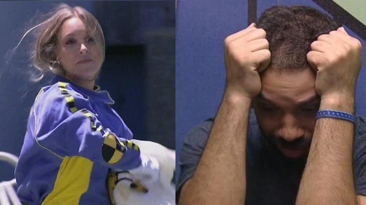 Montagem de Carla Diaz vestida de dummy e Gilberto nervoso com as mãos no rosto