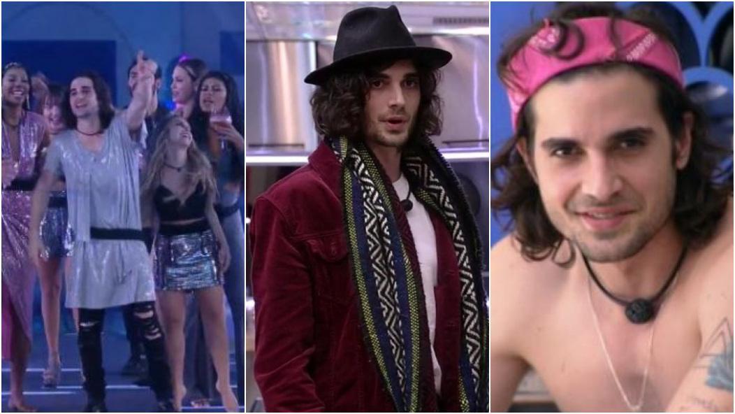 Montagem com três looks diferentes de Fiuk: na primeira, ele veste vestido de brilho; na segunda, ele está de chapéu e lenço no pescoço; na terceira, ele está com uma bandana no cabelo.