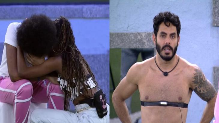 Montagem com João Luiz chorando e Rodolffo com a mão na cintura