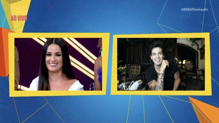 Montagem com Juliette e Luan Santana durante programa