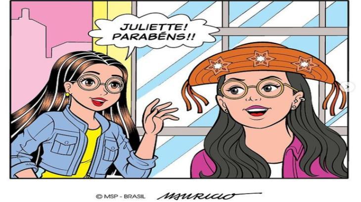 Tirinha da Juliette com a personagem Tina da Turma da Mônica