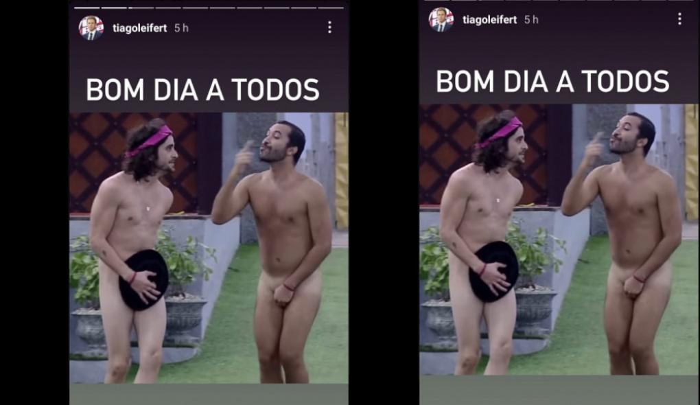 """Imagem de Gilberto e Fiuk sem roupa com a mensagem """"Bom dia a todos"""" no Instagram de Tiago Leifert"""