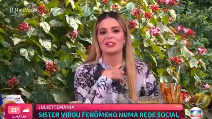 Viih Tube falando sobre Juliette em entrevista para o Mais você