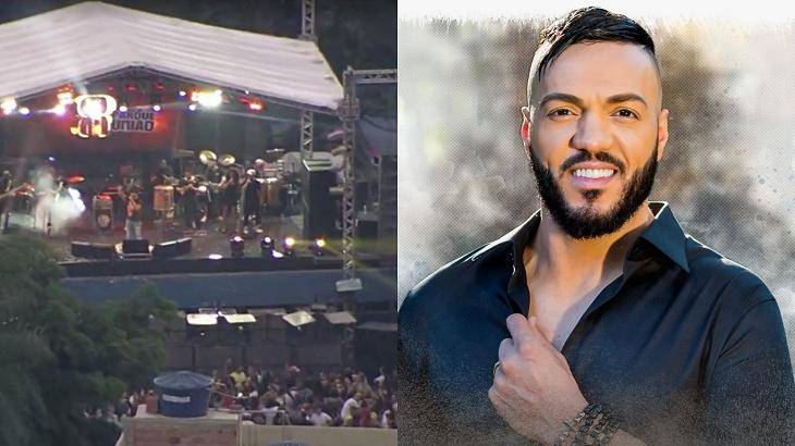 Belo fazendo show com aglomeração (à esquerda) e Belo posando para a foto para divulgar CD (à direita)