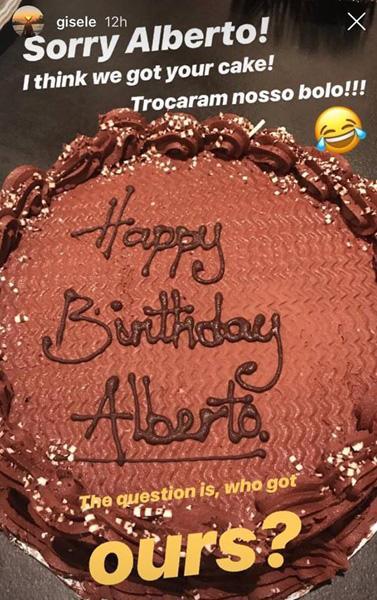 """Gisele Bündchen recebe bolo de aniversário trocado e brinca: \""""Desculpe, Alberto\"""""""