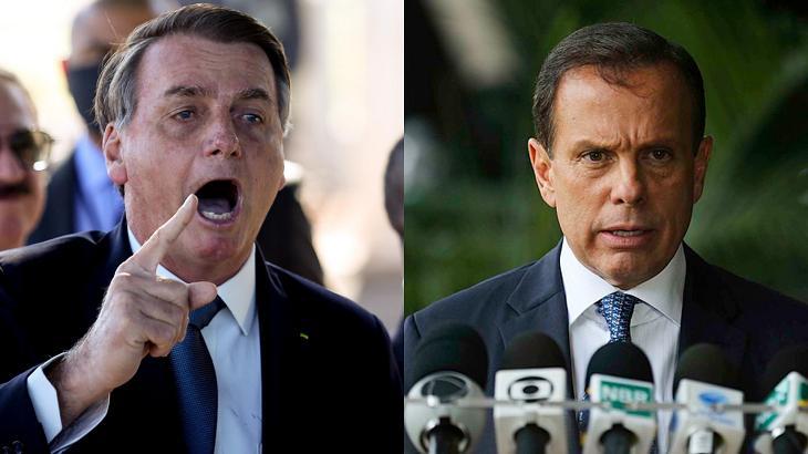 Jair Bolsonaro (esquerda) e João Dória (direita) em foto montagem