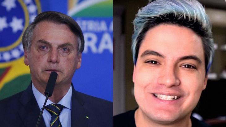 Jair Bolsonaro (à esquerda) e Felipe Neto (à direita) em foto montagem