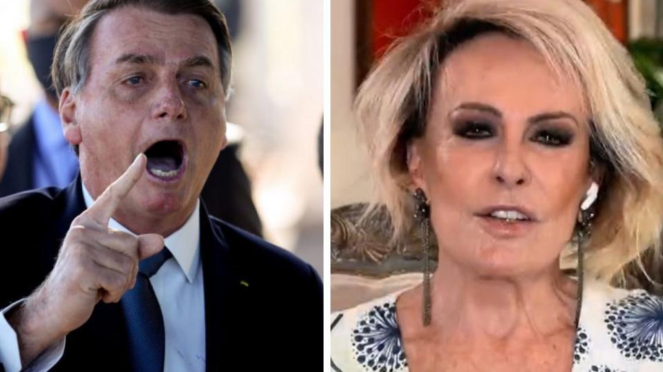 Bolsonaro apontando o dedo e Ana Maria conversando