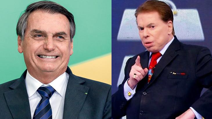 Jair Bolsonaro sorrindo e Silvio Santos sério