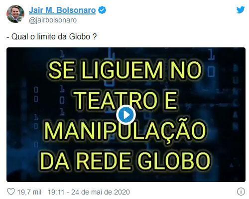 """Bolsonaro volta a atacar Globo: \""""Teatro e manipulação\"""""""