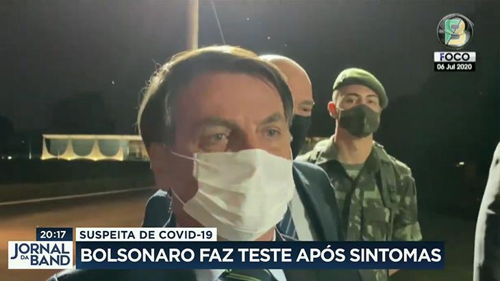 Jornal da Band noticia teste para Covid-19 realizado pelo presidente Jair Bolsonaro