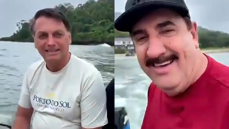 Jair Bolsonaro e Ratinho pescam em Santa Catarina