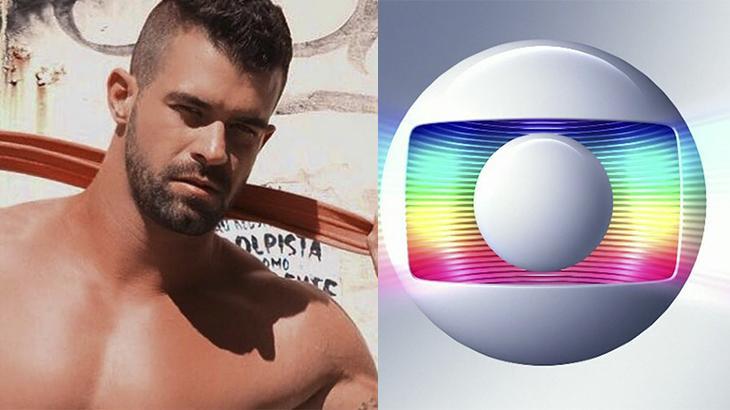 Borat, à esquerda, e logotipo da Globo, à direita, em montagem do NaTelinha