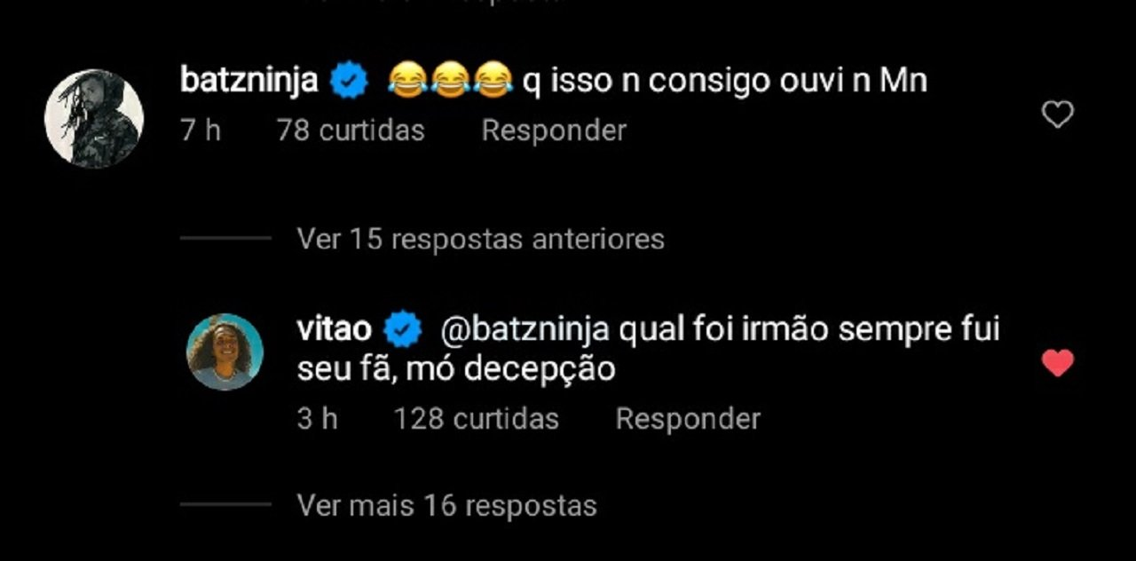 """Vitão discute com ídolo após ter música criticada: \""""Decepção\"""""""
