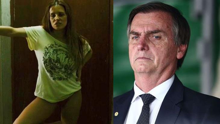 Deborah Secco caracterizada de Bruna Surfistinha e Jair Bolsonaro sério