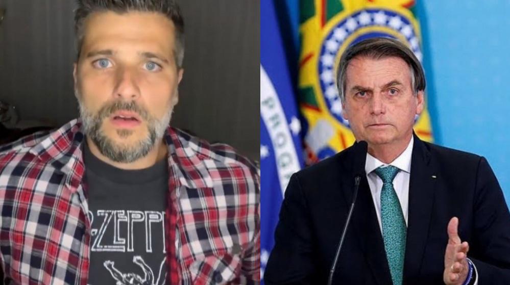 À esquerda, Bruno Gagliasso; à direita, Jair Bolsonaro