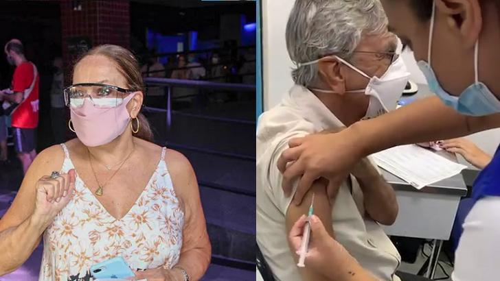 Susana Vieira (à esquerda) e Caetano Veloso (à direita) em foto montagem