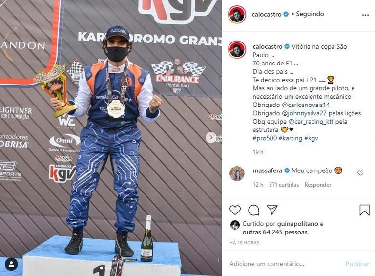 Caio Castro vence competição e é paparicado por Grazi Massafera