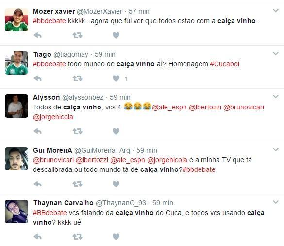 """Em alusão à volta de Cuca ao Palmeiras, comentaristas do \""""Bate-Bola Debate\"""" vestem calça vinho"""
