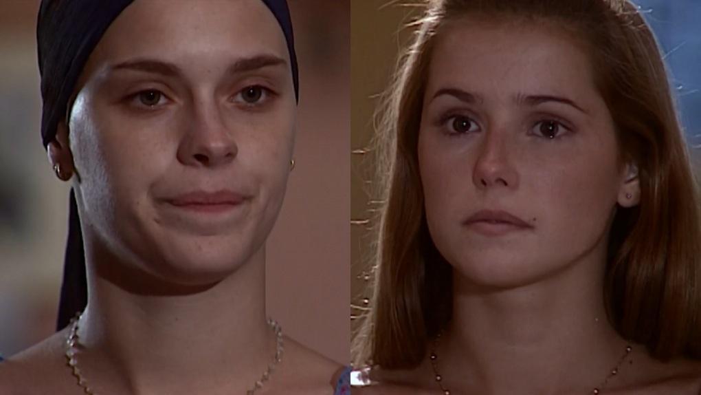Carolina Dieckmann e Deborah Secco em cena como Camila e Íris na novela Laços de Família, em reprise na Globo