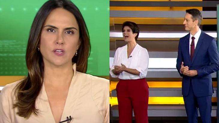 Carla Cecato (à esquerda) e Mariana Godoy e Sérgio Aguiar (à direita) em foto montagem