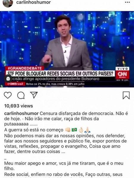 """Carlinhos Mendigo detona decisão da Justiça após ter perfil bloqueado: \""""Não irão me calar\"""""""