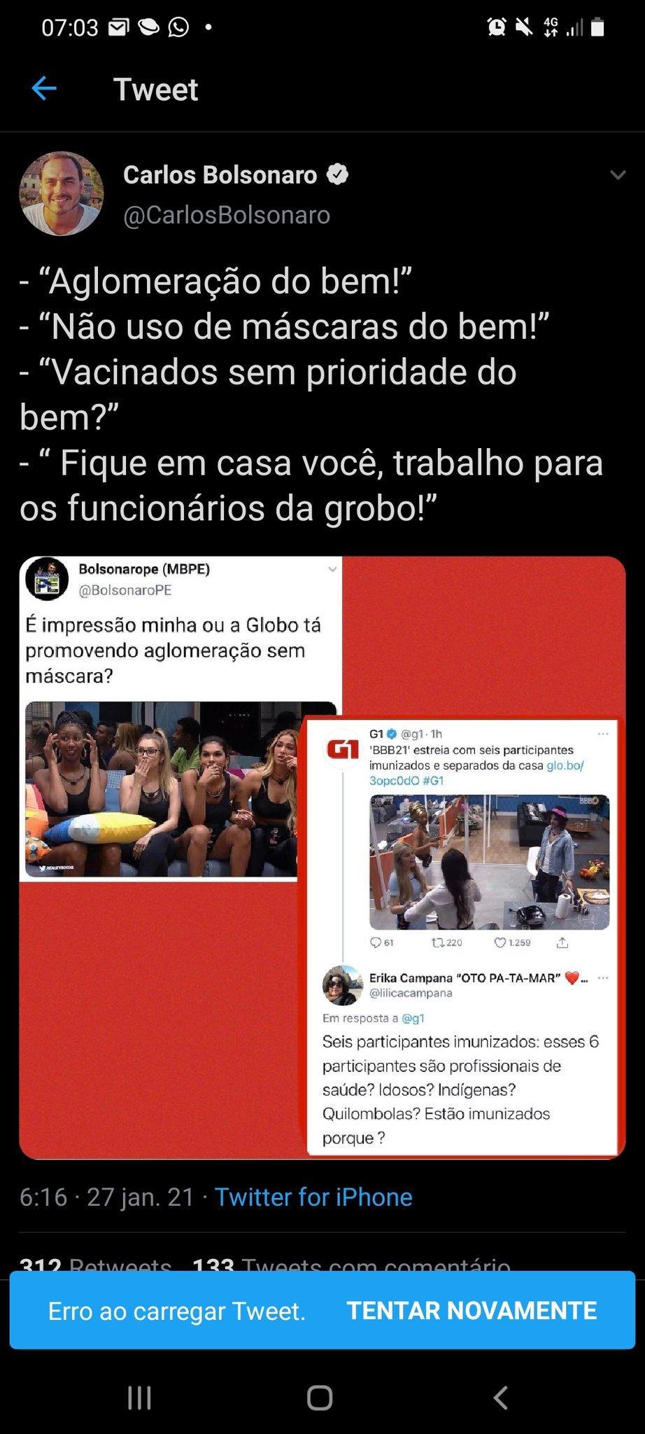 BBB21: Carlos Bolsonaro compartilha fake news e diz que brothers furaram fila da vacina