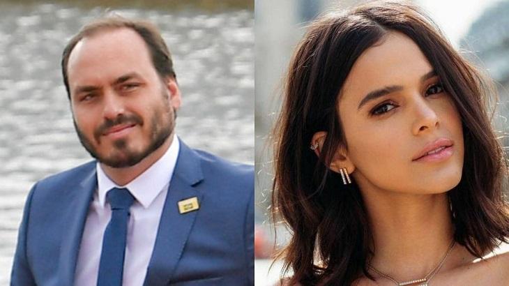 Montagem de fotos de Carlos Bolsonaro e Bruna Marquezine