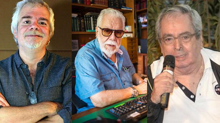 Os autores, Carlos Lombardi, à esquerda, Manuel Carlos, no centro, e Benedito Ruy Barbosa, à direita, em montagem produzida pelo NaTelinha
