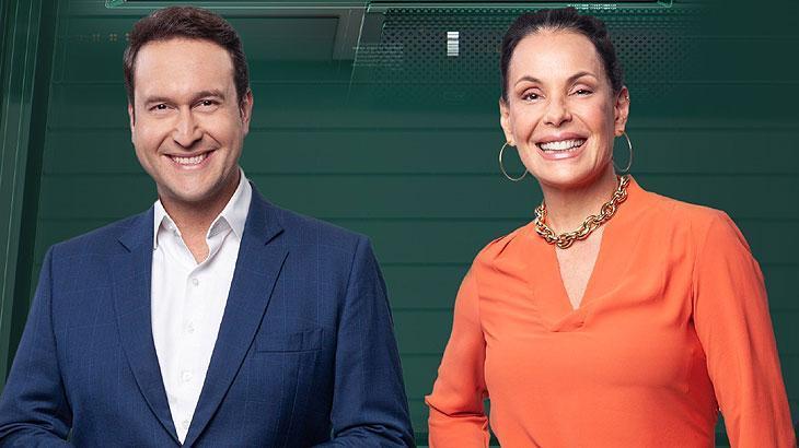 Eduardo Ribeiro e Carolina Ferraz no Domingo Espetacular