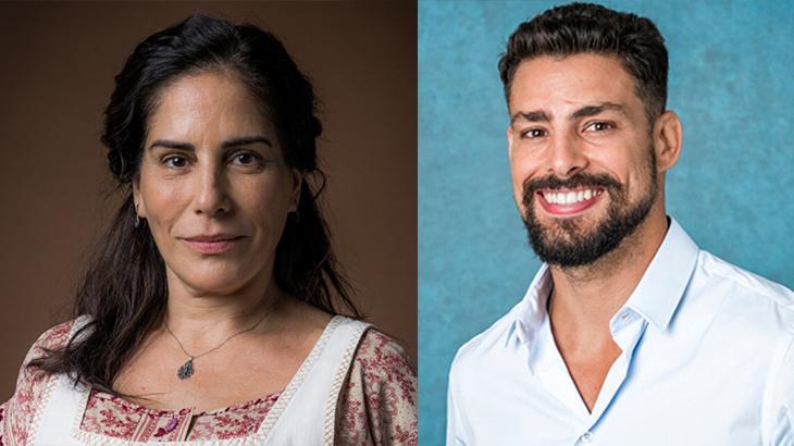 A atriz Glória Pires séria, à esquerda, e o ator Cauã Raymond sorrindo, à direita, em montagem nas fotos