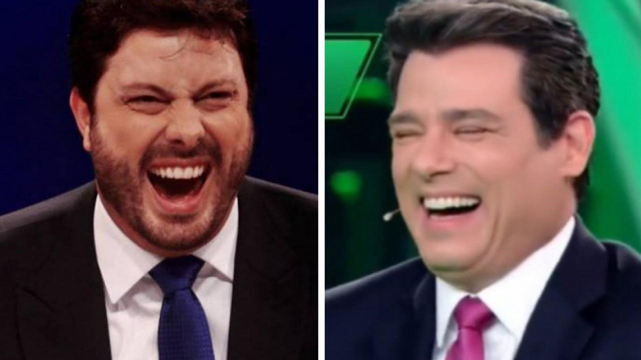 Danilo Gentili e Celso Portiolli rindo em montagem