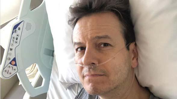 Celso Zucatelli na cama de hospital