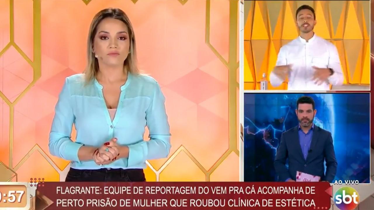 """Cenário """"puxadinho"""" do Vem pra Cá dividindo a tela no SBT"""