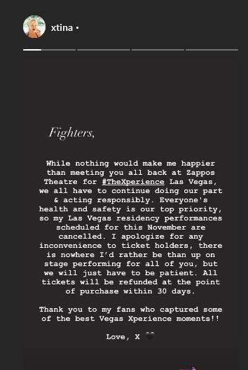 """Christina Aguilera cancela turnê por causa da pandemia: \""""Saúde é a nossa prioridade\"""""""