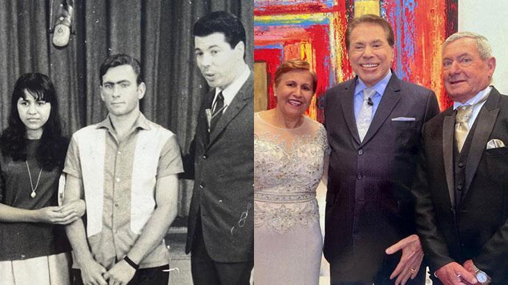 Cleide e Valdir Garzin com Silvio Santos em 1967 e 2018