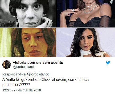 """Internautas comparam Anitta com Clodovil: \""""a cara dele\"""""""