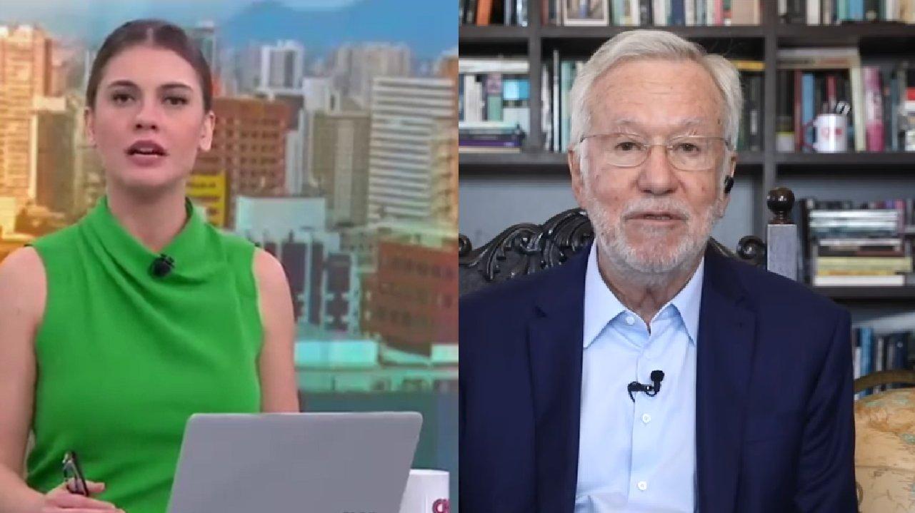 Elisa Veeck sentada na bancada do jornal da CNN (à esquerda) e Alexandre Garcia sentado em seu escritório (à direita) em foto montagem