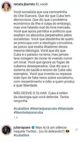 Juliana Paes emite opinião política sobre Cuba e divide opiniões na web